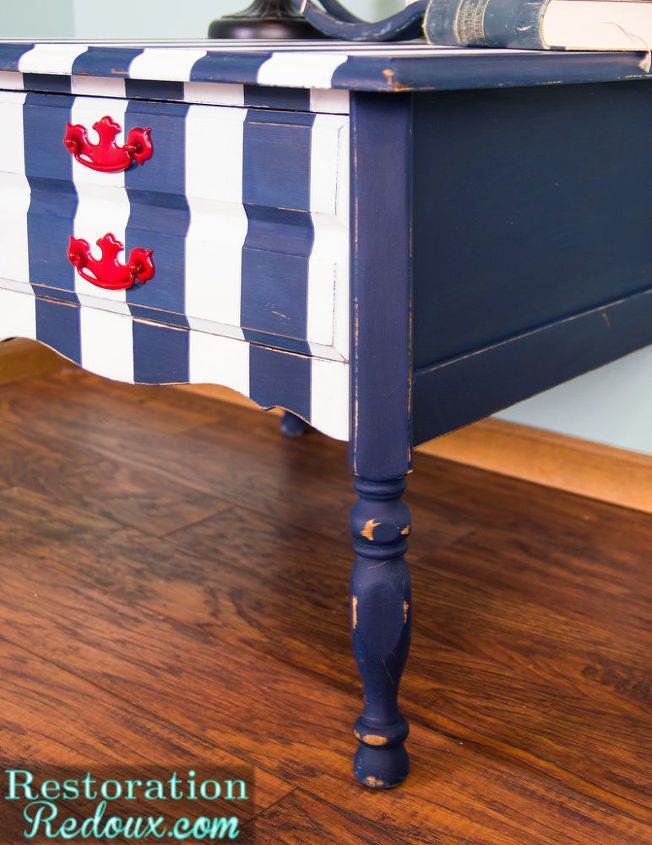 nautical striped table, home decor, painted furniture