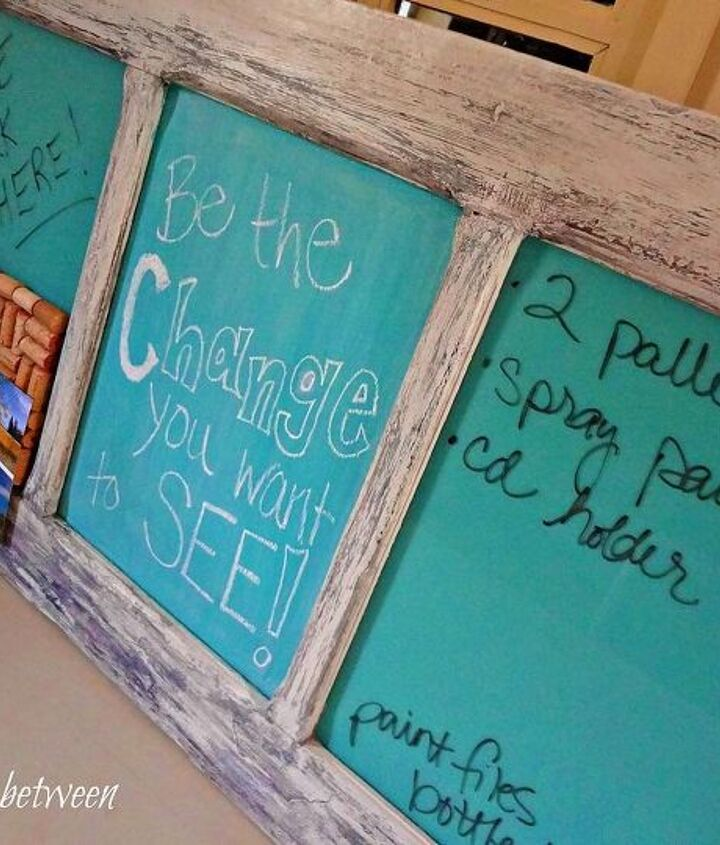 old door with 4 panels turned into a message board