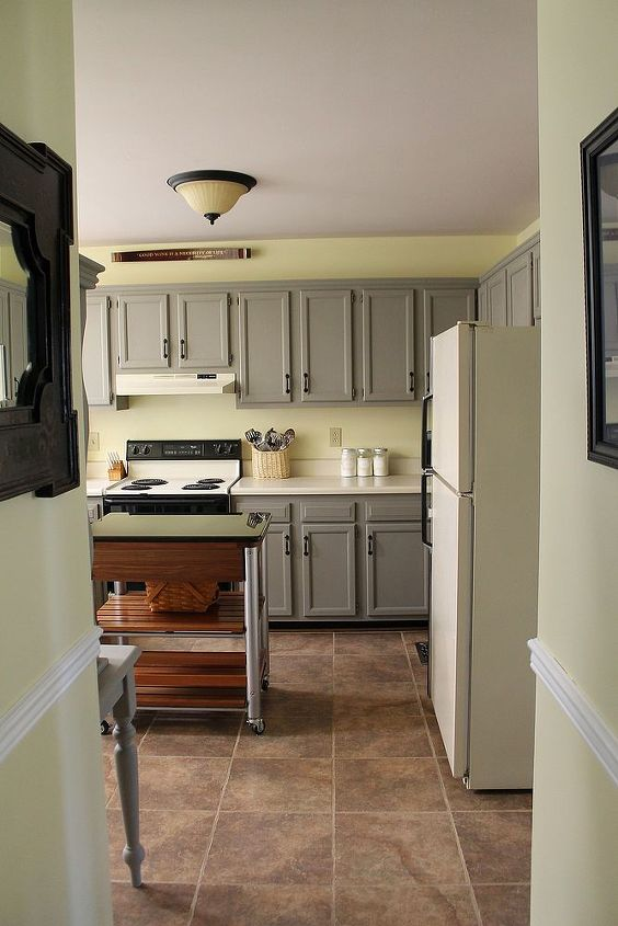 yellow gray kitchen remodel before after, chalk paint, home decor, kitchen design, painting