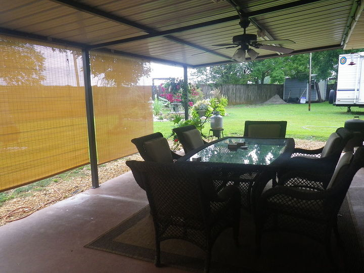 Adding these blinds to the patio to keep the sun out in the am, has made this area feel like another room.