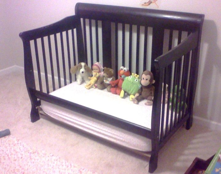 from crib to toddler bed, bedroom ideas, home decor, painted furniture, After picture We have plans to add a no sew tu tu bed skirting paint on the walls and other pretty stuff