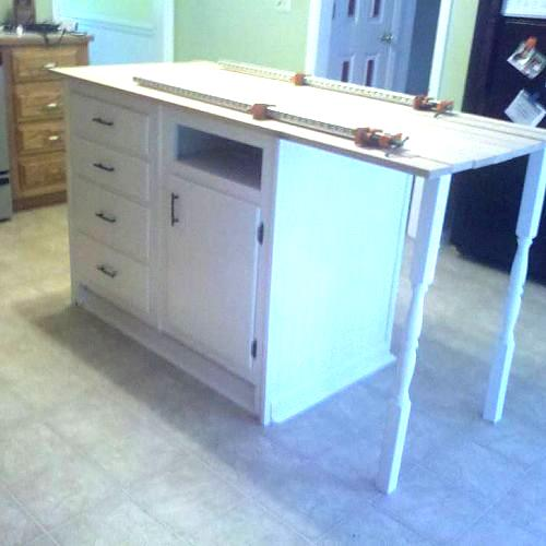 Kitchen Island From Old Furniture: Old Base Cabinets Repurposed To Kitchen Island