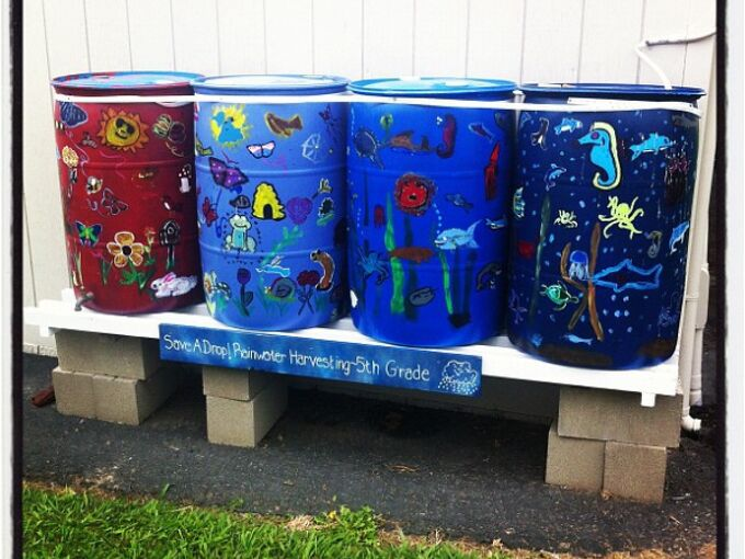 water your garden save money and live green with a rain barrel, gardening, go green, Painted Rain Barrels