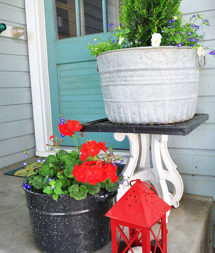 Old canning pots as planters.