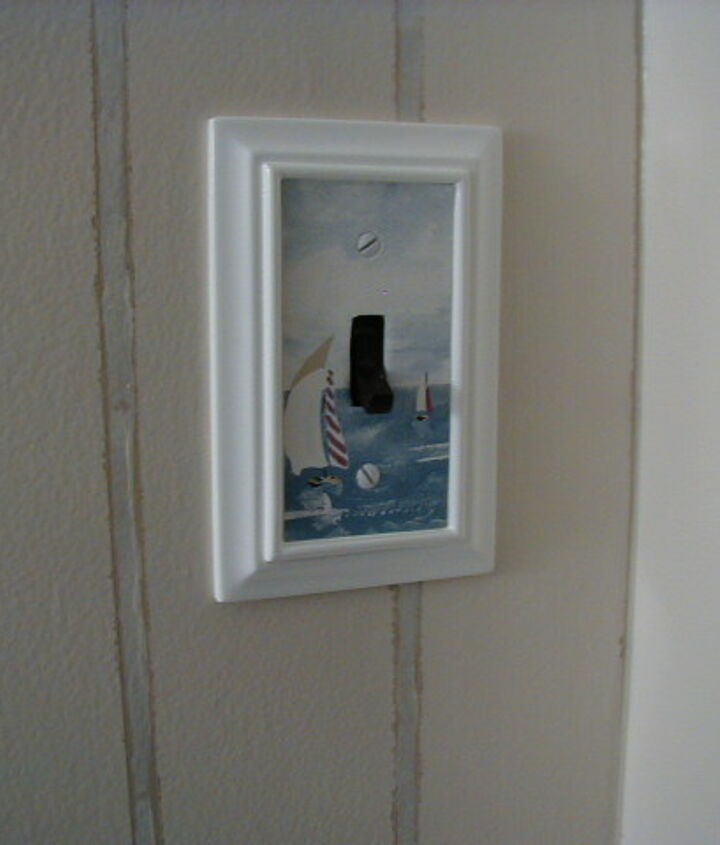 """I love these """"picture frame"""" switch plates. I framed a bit of the border and the switch is now white to match --- no more ugly brown flipper! You can see my faux bead-board better here."""