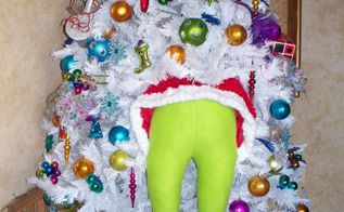 diy grinch holiday decor, crafts, home decor, seasonal holiday decor, Hose batting a santa suit