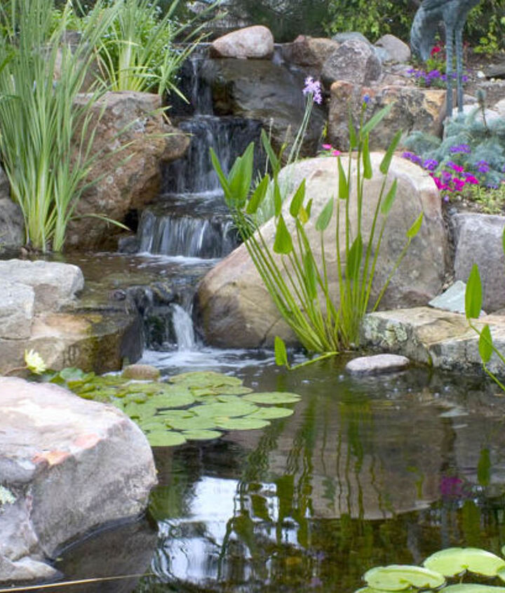 Add a small waterfall to your small pond to keep it properly filtered and aerated (which means less maintenance).