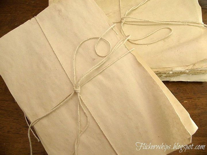 Coffee or tea dye them and wrap with string.