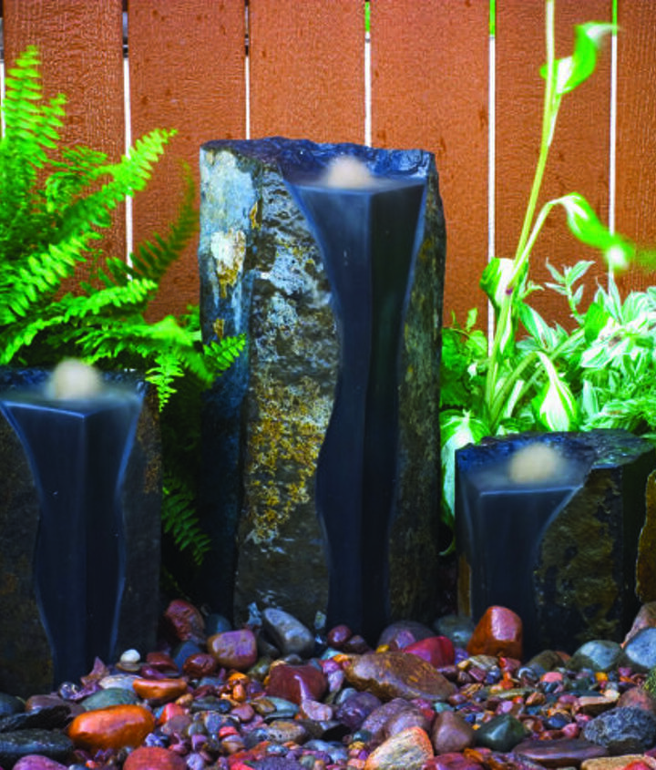 Cut and polished Basalt Column fountains