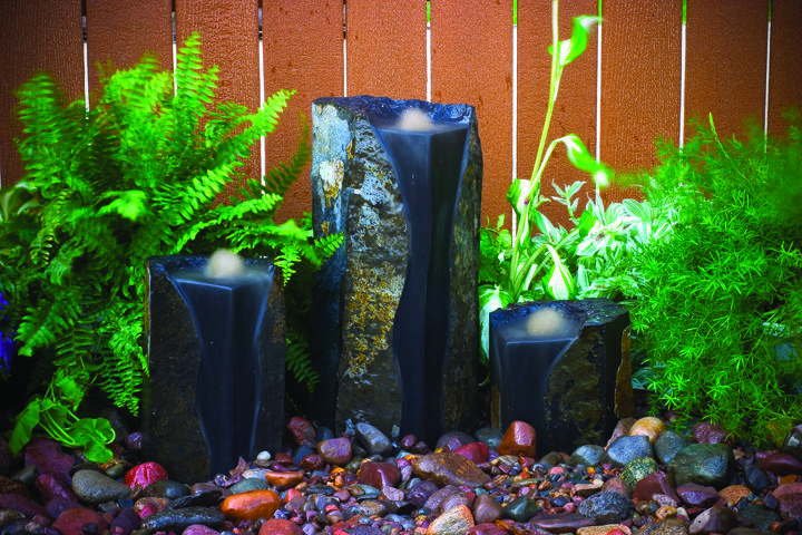 Cut and polished Basalt Column fountains