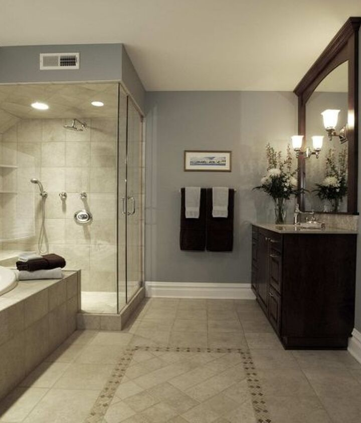 Grays can be very calming in the bathroom.