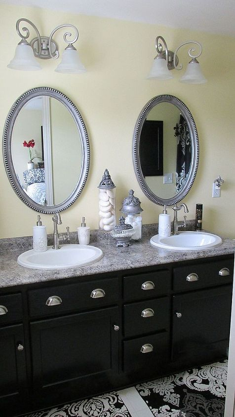 AFTER: Master bath, new counters, new sinks, new faucets. Whole new feel!