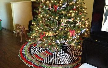 ribbon tree skirt and beaded garland measurments included, crafts, seasonal holiday decor, This is my final product but lets go step by step for making this MaCkenzie Childs inspired tree skirt I bought items at Wally World a local fabric store and hobby shop