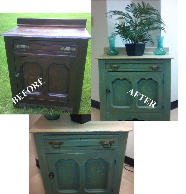 Painted in greens/teals and distressed....