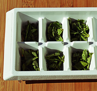 Place your herbs in clean ice cube trays. Herbs will float a bit, so take this into consideration when filling your trays to keep them from spilling over.