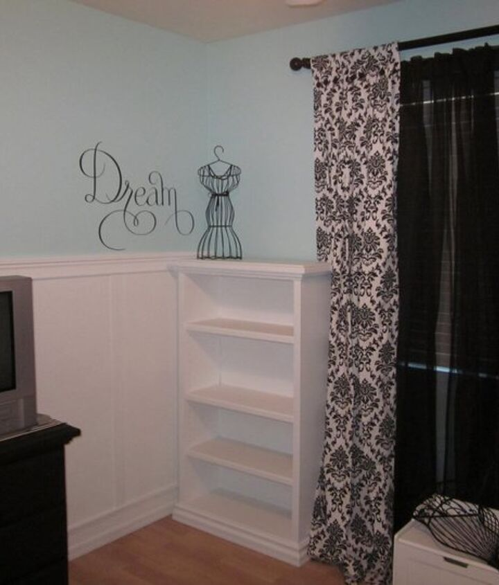 Painted all of her baby furniture to give it a more grown up look. New curtains and wall vinyl art (Stampin Up)