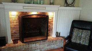 q help update my 70 s fireplace, fireplaces mantels, paint colors, painting, wall decor, We did this 3 dimensional people are surprised when we tell them that there is brick behind the wainscot