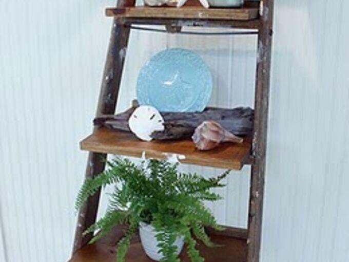 ladder display shelves, home decor, repurposing upcycling, shelving ideas