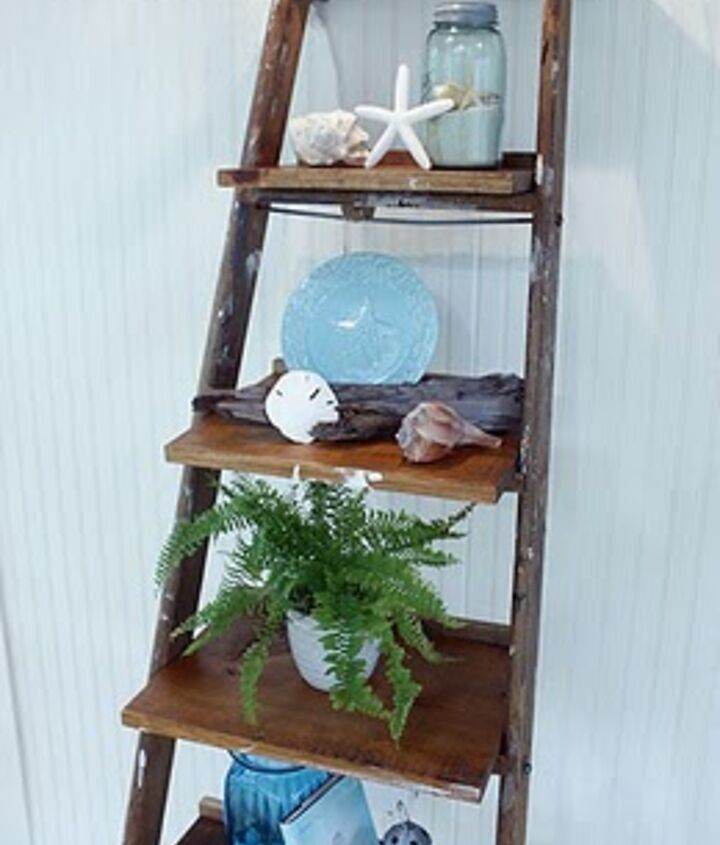 ladder display shelves, home decor, repurposing upcycling, shelving ideas