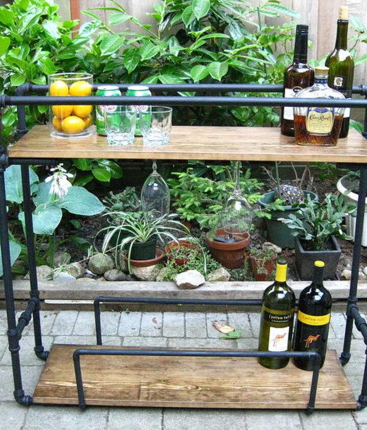 diy pipe bar cart, painted furniture, repurposing upcycling