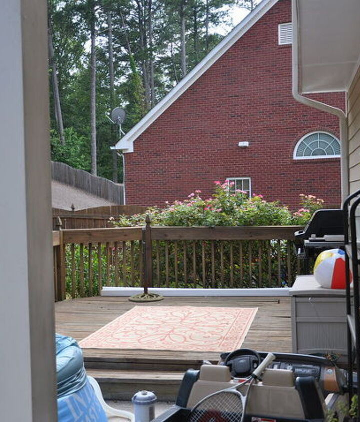 view from back door, notice the column on the patio