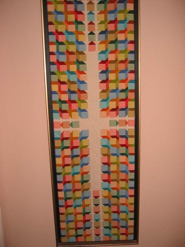Geometric shapes. Wall-hanging. Needlepoint.