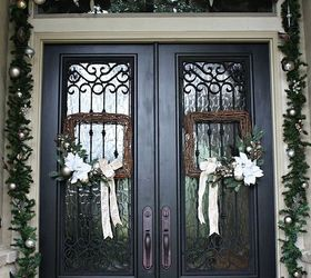 Christmas Porch And Front Door Garland Diy Decorations Curb Appeal Doors