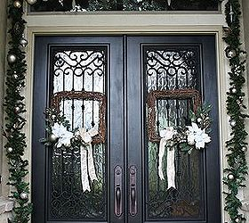 Christmas Porch And Front Door Garland Diy, Christmas Decorations, Curb  Appeal, Doors,