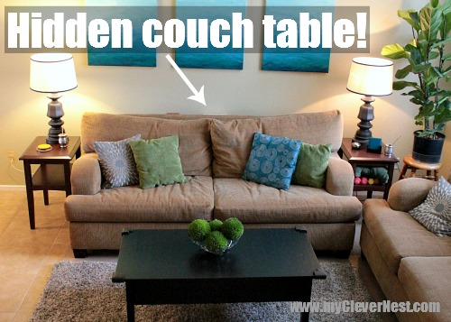 It's short enough that it's hidden behind the couch.