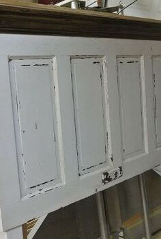 5 panel 90 yr old door converted into a king size door headboard, doors, painted furniture, repurposing upcycling
