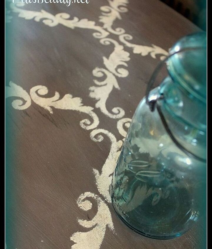 Up close of the finished stencil work on the table