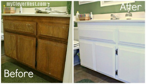 Before and After- bathroom cabinet repaint