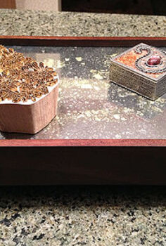 how to make an antique mirror tray from a picture frame, crafts, repurposing upcycling, With Krylon Looking Glass spray paint a deep picture frame and metal feet or even handles instead you can make a mirrored tray
