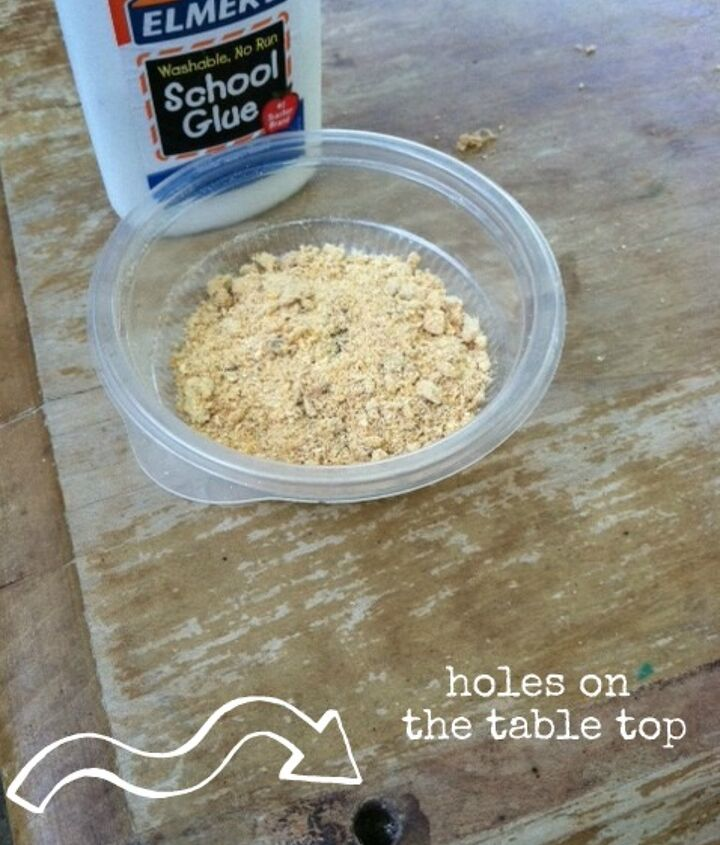 Homemade wood filler....saw dust and Elmer's Glue...mix, fill in hole and it dries in minutes! Sand to make smooth and get to work!