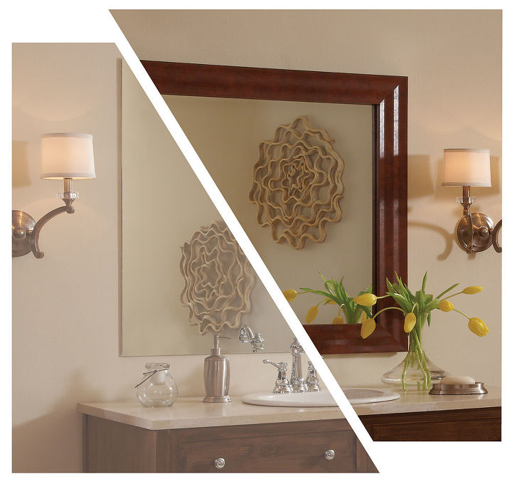 MirrorMate's Pacifica frame added to a plate glass bathroom mirror.  Photo styled by Design Blogger Emily A Clark.