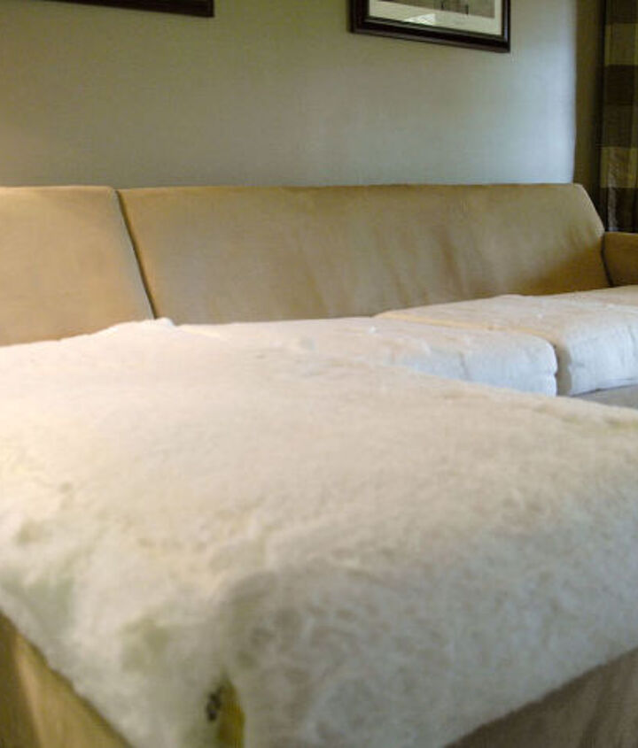 how to make an old couch new again for 10, painted furniture, I started by removing the covers and washing them