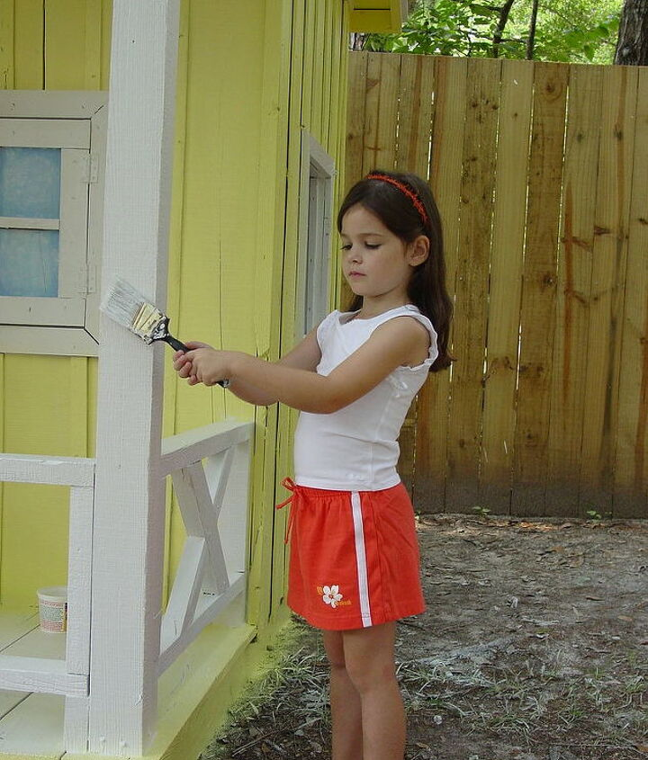 my granddaughter s playhouse, diy, how to, fire pit, repurposing upcycling, She really helped me a lot