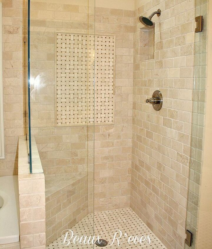 Marble Shower with Basketweave insert