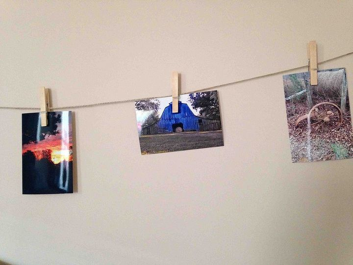 clothesline picture display, bedroom ideas, crafts, home decor