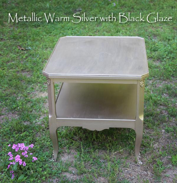 metallic warm silver with black glaze finish, painted furniture
