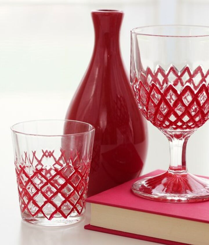 Modern and graphic painted cut glass  http://www.madiganmade.com/2012/10/modern-fretwork-glass-painting-craft.html