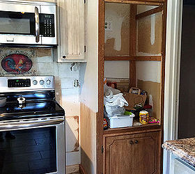 we built a drop in kitchen cabinet closet diy how to kitchen