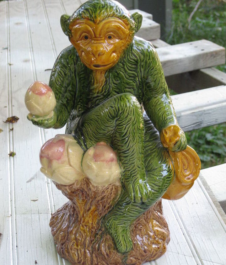 here he is before (church rummage sale find for $1) why do you suppose he was GREEN?!