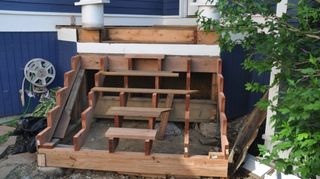 looking to replace wooden deck front steps with concrete front steps, concrete masonry, decks, Ipe steps I m currently working on for a client