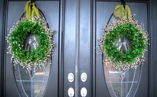 spring wreaths, crafts, seasonal holiday decor, I hung them with a simple burlap ribbon Now they really stand out against the black doors and can be seen really well from the street