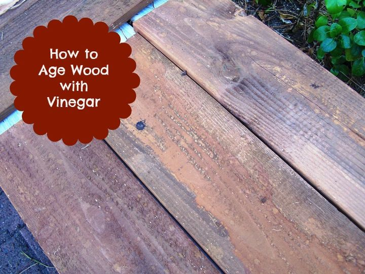 age or stain wood with vinegar, painting, woodworking projects, I quickly and easily painted the cider vinegar stain on the plain wood with a cheap paint brush no need for fancy equipment Instantaneously it changed to give me this beautiful brown aged wood color
