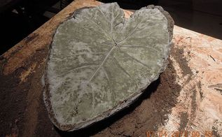 making garden art birdbaths, crafts, gardening, repurposing upcycling, peel the leaf off