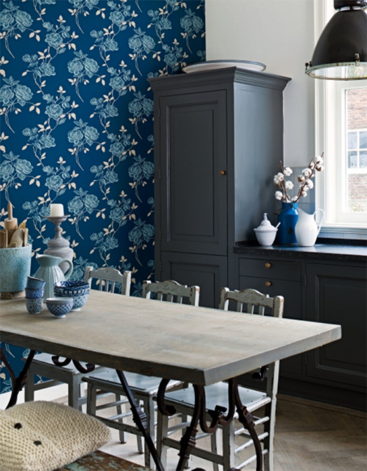 top 3 why designing with wallpaper is easy, home decor, wall decor, Playful Cerulean Floral Wallpaper R1572