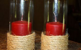 diy jute candle holders, crafts, 5 in all thinking i may need taller candles