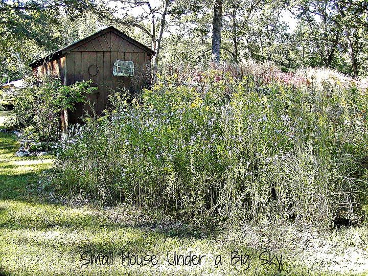 A portion of the meadow of with the pool house in the rear of this photo.